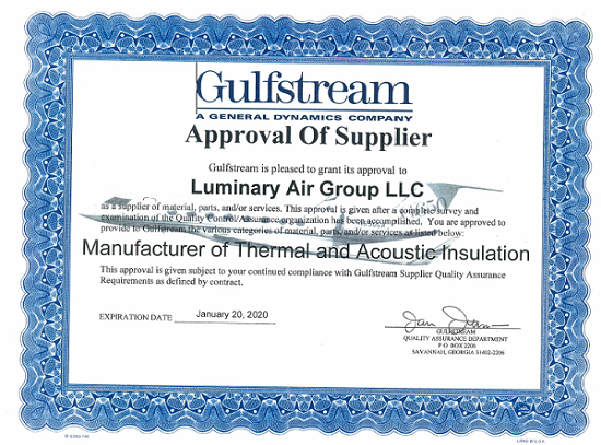Luminary Gulfstream Supplier Approval